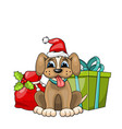 funny dog wearing santa hat with christmas gift vector image
