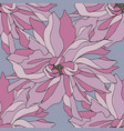 hand drawing seamless pattern with pink flowers vector image