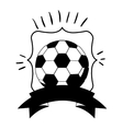 monochrome frame with soccer ball and ribbon vector image
