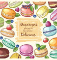 poster with colored of macaroons vector image