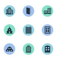 set of 9 simple architecture icons can be found vector image