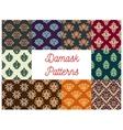 Damask floral seamless patterns set vector image vector image