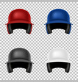 realistic classic baseball helmet set vector image vector image