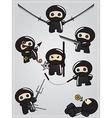 Collection of cute cartoon ninja warriors with vector image