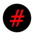 Hashtag sign Red icon vector image