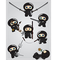Collection of cute cartoon ninja warriors with vector image