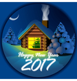 Happy new year 2017 card with a wooden house vector image