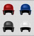 realistic classic baseball helmet set vector image