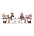 set of male teacher working at desk rear front vector image