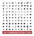 100 communication and connection icons set vector image