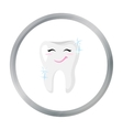 Smiling tooth icon in cartoon style isolated on vector image