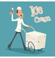Happy Smiling Ice Cream Seller with Cart Retro vector image