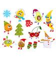 cartoon winter fruit characters symbols set vector image