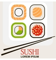 sushi roll with chopsticks vector image