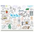 Winter season set doodles elements Hand drawn set vector image