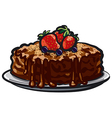 chocolate tart with berries vector image vector image