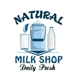 Natural milk fresh farm dairy drink badge vector image vector image