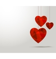 Polygonal red hearts Beautiful banner design for vector image