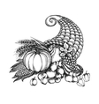 Thanksgiving cornucopia full of harvest fruits and vector image