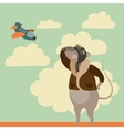 Cartoon mouse in pilot uniform vector image
