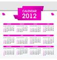 2012 calendar template vector image vector image
