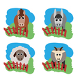 farm animals Horse sheep goat a donkey on the vector image
