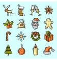 Christmas icons set color vector image