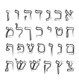 Hebrew alphabet on isolated vector image