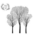 nature background trees and birds silhouette card vector image