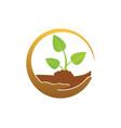 Plant green leaf organic save logo vector image