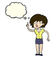 cartoon woman with question with thought bubble vector image