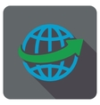 Worldwide Delivery Flat Rounded Square Icon with vector image