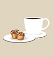 cup of coffee or tea with roll vector image