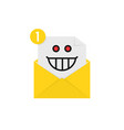 Mad emoji in yellow letter notification vector image