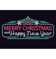 Neon lights merry christmas and happy new year vector image