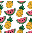 pineapple and watermelon tropical fruit seamless vector image