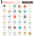 set of flat school education icons vector image