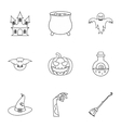 Halloween icons set outline style vector image
