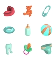 Baby elements icons set cartoon style vector image