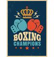 boxing retro poster orange glove vector image vector image