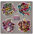set of music cartoon stickers vector image