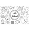 hello autumn icons set sketch hand drawing vector image