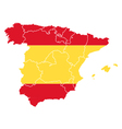 Map and flag of Spain vector image vector image