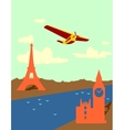 retro airplanes fly from paris to london vector image