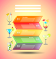 Cocktails infographics on colorful background vector image