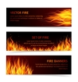 Flame banner set vector image