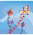 Kites in the sky funny design vector image