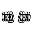 love and hate hand fists with brass knuckles vector image
