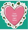 Pink heart with green leaves frame vector image