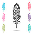 set of colorful feathers vector image
